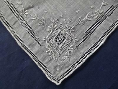 Antique Scottish Handkerchief Ayrshire Embroidery & Lace Inserts Wedding Hankie