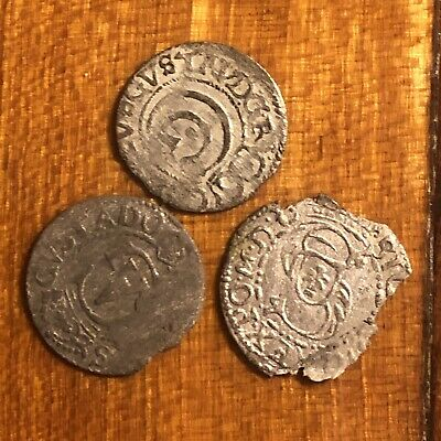 3 Medieval European Coins Tokens Authentic Artifacts Catholic Medal Ancient Old