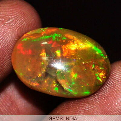 14.60Ct Certified Natural Rainbow Color Finest Ethiopian Welo Opal Oval Gemstone