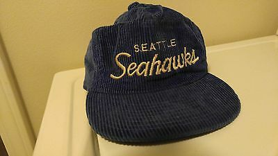 RARE Vintage Sports Specialties NFL Seattle Seahawks Blue Corduroy Zippered  Hat 300d8fdf6