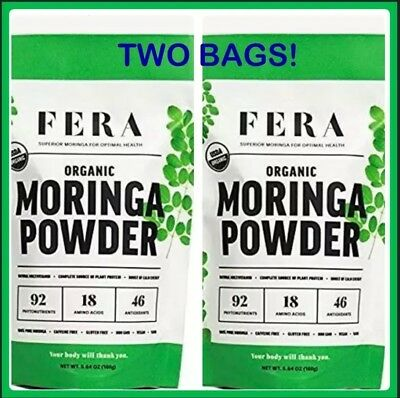 100% Pure Raw ORGANIC Moringa Leaf Superfood Powder NUTRITION & ENERGY TWO BAGS!