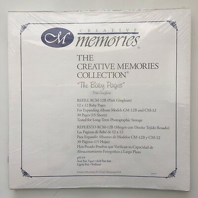 "NIP Creative Memories 12X12 ""The Baby Pages"" Pink Gingham Scrapbook Pages"