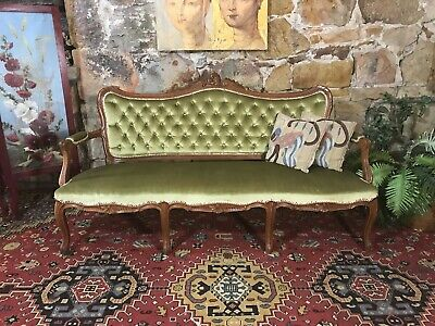 Vintage French Louis Wingback Chesterfield Lounge,3 Seater Sofa~Chair-