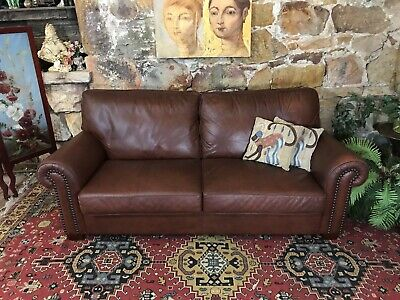 Vintage Chesterfield Leather MORAN BRANDO 3 Seater Sofa-Lounge-Chair~Brown