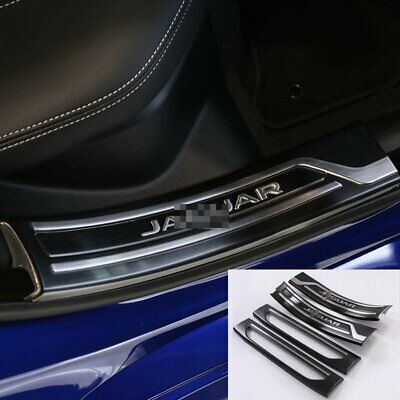 4*Black Stainless Steel Door Sill Scuff Plate Cover Trim For Jaguar XE 2015-2017