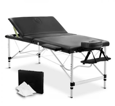 Portable Aluminium Massage Waxing Therapy Table 3 Fold Beauty Bed Black 80cm