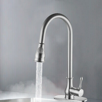 New Brushed Nickel Kitchen Faucet Pull Out Sprayer Single Hole