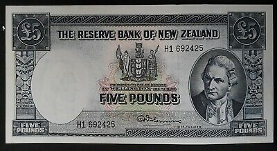RARE 1960-6 Reserve Bank of New Zealand £5 Banknote Fleming with Security Thread