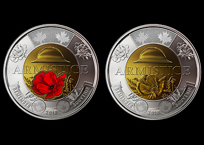 Canada 2018 BU $2 Toonie Armistice Poppy Coloured and Non-Colour coins set BU