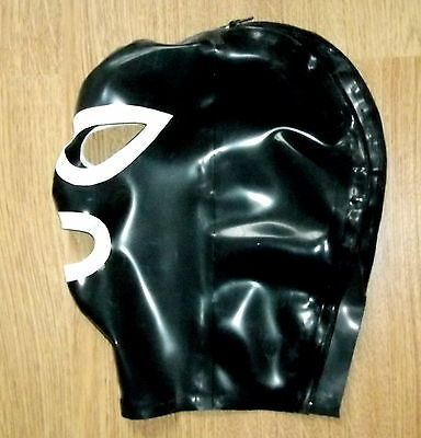 Latex Rubber Quality Open Eyes & Mouth Hood in BLACK Rear zip  S - XL Brand New