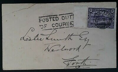 Rare 1900- Tasmania Australia 2d Pictorial stamp On POSTED OUT OF COURSE cover