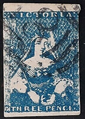 Rare 1850- Victoria Australia 3d blue Imperf Half Length stamp Used with variety