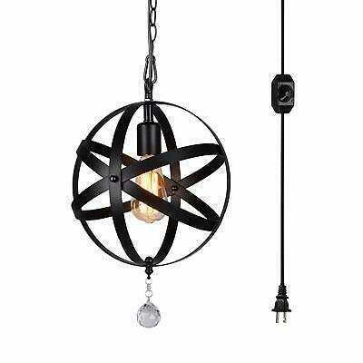 1-Light Portable Hanging Plug-In Pendant Black Shade Swag Hooks Ceiling Lamp Top