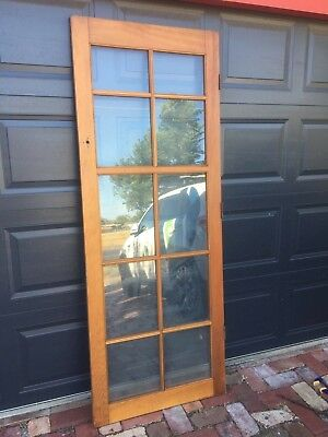 Vintage antique original Art Deco style Oregon wood single French door 10 pane