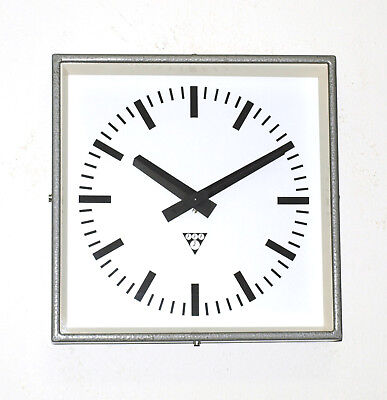 metal square wall clock PRAGOTRON - Factory - vintage industrial ORIGINAL BOX
