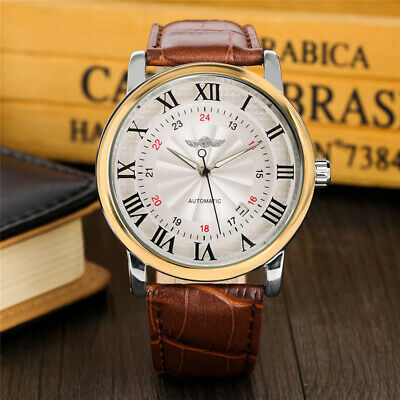Winner Steampunk Date Automatic Mechanical Wrist Watch Leather Band Gift for Men