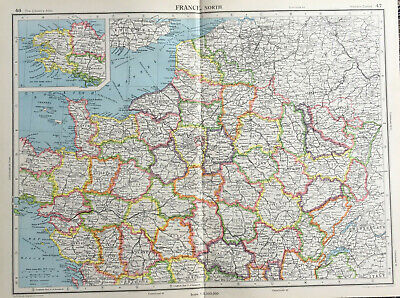 Antique Map France North Large J G Bartholomew C1951