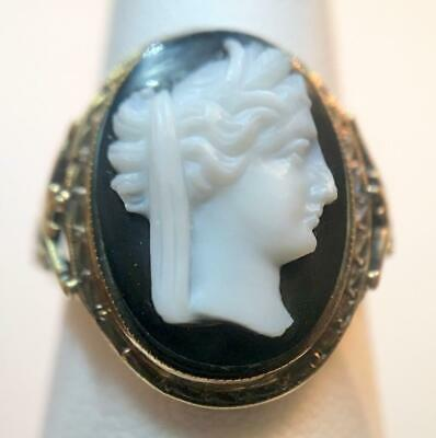 Antique Black Hardstone or Agate Cameo Ring 10k Yellow Gold Size 6.25