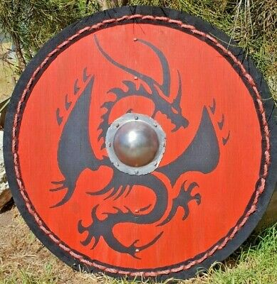 Red Viking Shield With Black Dragon Nidhogg And Steel Boss Umbo Suede Leather