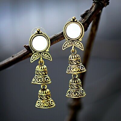 Vintage Classic Carved Jhumki Stud Earring Retro Ethnic Gypsy Indian Jewellery