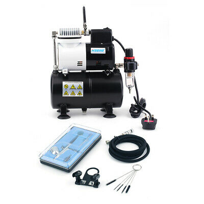 Double Action Airbrush Kit + Compressor With Tank AF186 Paint Nail Tatoo Hose