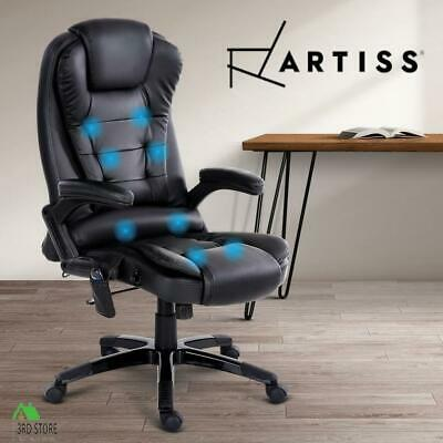 8 Point Massage Executive Office Computer Chair Heated Recliner PU Leather BK