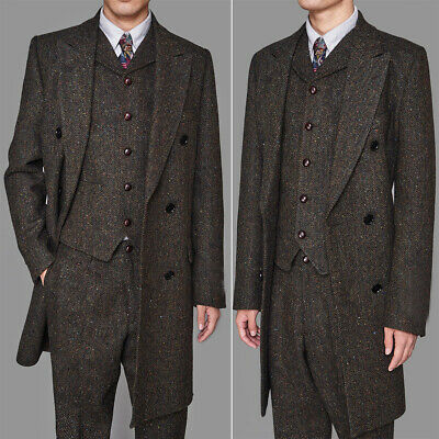 Men's Coffee Colorful Herringbone Vintage Long Vested Suits 3pcs Peaky Blinder
