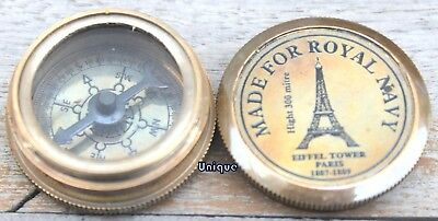 Antique Style Royal Navy Brass Poem Compass Marine Nautical Collectible Gift