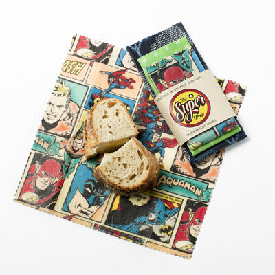 Beeswax Food Wraps - 3 PACK small/ medium/ large - Superhero Lunch Pack - Kids