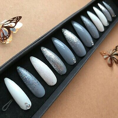 Hand Painted False Nails XL COFFIN (or ANY) Gloss Grey, Silver Glitter & White