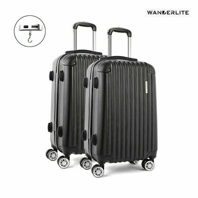 Wanderlite 2pc Luggage Suitcase Trolley Set TSA Travel Hard Case Lightweight BK