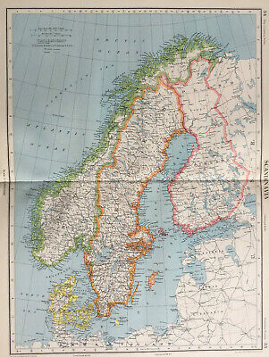 Antique Map Scandinavia Large J G Bartholomew  C1951