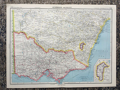 1951 Large Antique Map Of Australia South East  J G Bartholomew