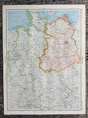 1951 Large Antique Map Of Germany J G Bartholomew