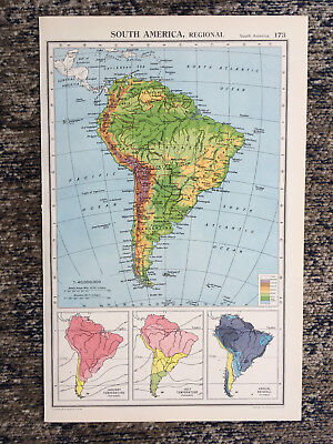 1951 Antique Map Of South America Regional J G Bartholomew