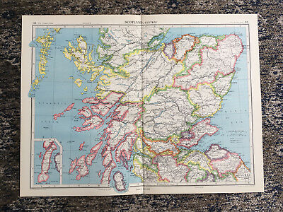 C1951 Antique Map Scotland Central Large J G Bartholomew