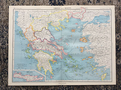 1951 Large Antique Map Of Greece & The Aegean J G Bartholomew