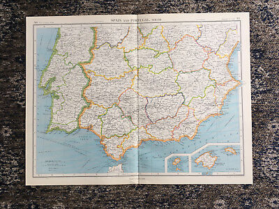 C1951 Antique Map Spain & Portugal Large J G Bartholomew