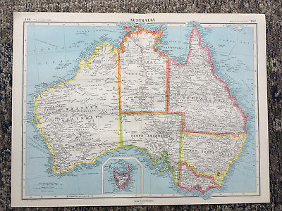 1951 Large Antique Map Of Australia  J G Bartholomew