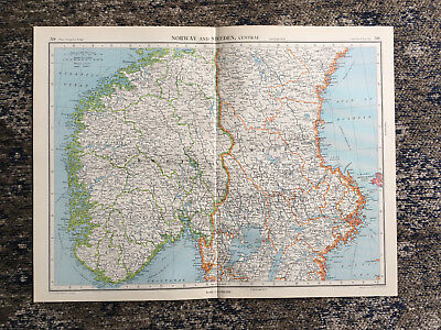 C1951 Antique Map Norway & Sweden  Large J G Bartholomew