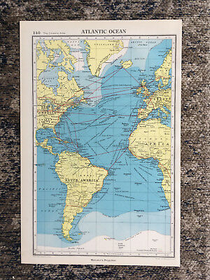 1951 Antique Map Of Atlantic Ocean J G Bartholomew