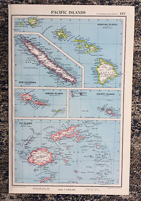 1951 Antique Map Of Pacific Islands J G Bartholomew
