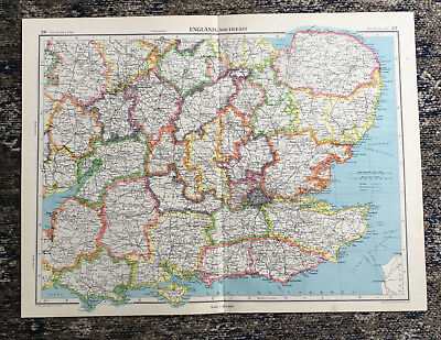 C1951 Antique Map England South East Large J G Bartholomew