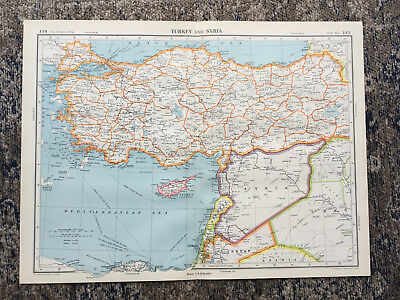 C1951 Antique Map Turkey & Syria Cyprus Large J G Bartholomew