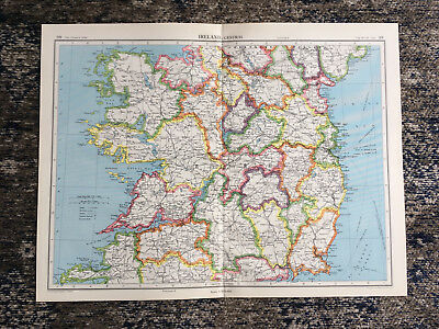 C1951 Antique Map Ireland Central Large J G Bartholomew