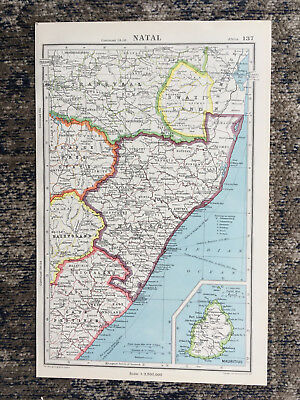 1951 Antique Map Of Natal J G Bartholomew
