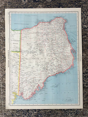 1951 Large Antique Map Of Australia Western  J G Bartholomew