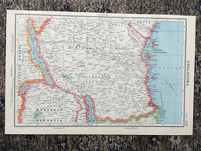 1951 Antique Map Of Tanganyika J G Bartholomew