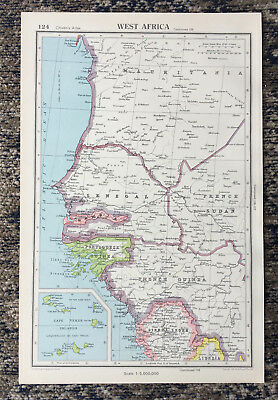 1951 Antique Map Of West Africa J G Bartholomew