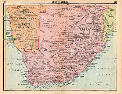 Antique Map South Africa Cape Of Good Hope 1898 Color 13 75